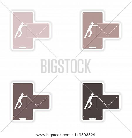 Set of paper stickers on white background sending sms