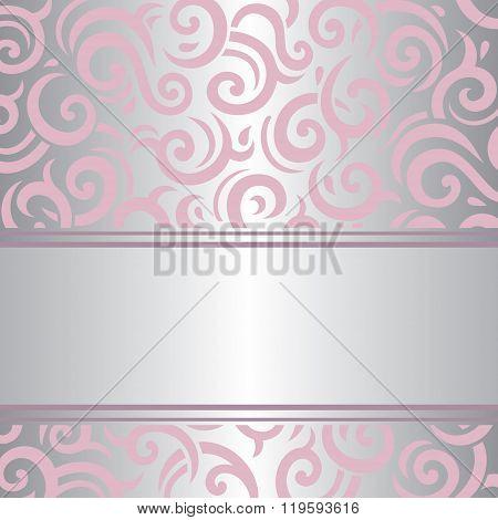 Pink & silver invitation vintage retro vector design