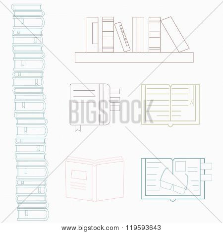 Colorful set of logotypes for university book club bookstore book festival. Imagination and learning concept. Literature illustration. Set of books. Vector symbols of reading and learning. Book club illustration.