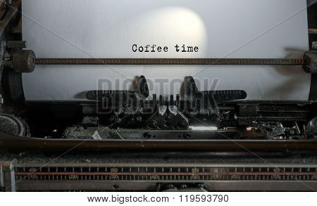 Coffee Time Text On Paper Sheet In Typewriter