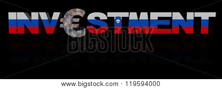Investment text with euro symbol and Slovenian flag illustration