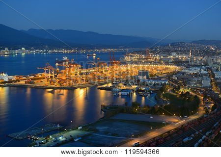Port of Vancouver night view, BC, Canada