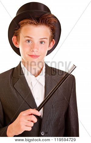 Young Boy In Elegant Magician Attire Against White