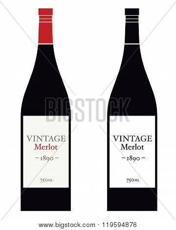 Vector Merlot Wine Bottle Set in Color and Black
