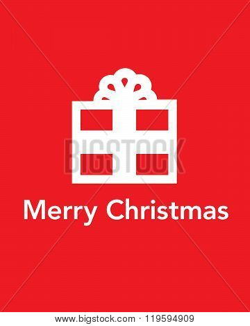 Vector Merry Christmas Gift Icon and Greeting Card