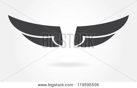 Wings icon or sign. Vector illustration of bird wings.