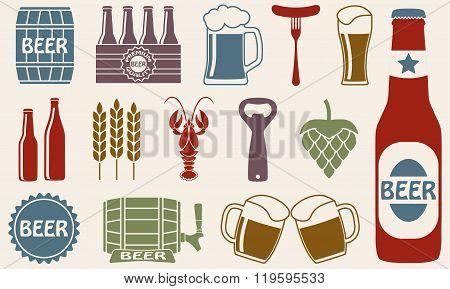 Beer icons set: bottle, opener, glass, tap, barrel. Vector illustration.