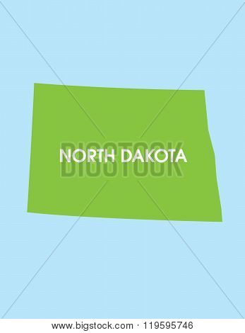Vector Map of North Dakota USA