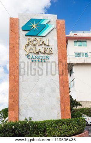 Royal Solaris Cancun Resort Sign At The Entrence