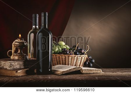 Wine Still Life With Old Books
