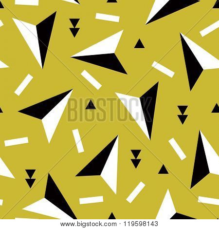 Seamless geometric arrows memphis style triangle and confetti abstract blue background pattern in vector