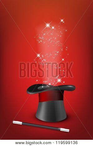 Glossy Magic Hat, Wand And Shiny Stars