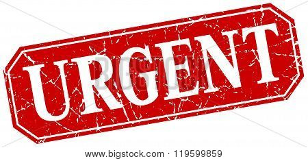 urgent red square vintage grunge isolated sign