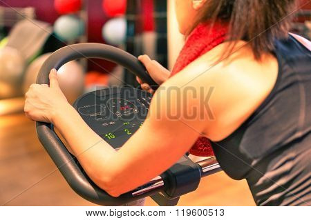 Fit Woman Working Out Training Indoor In Gym Center Contest - Fitness And Healthy Lifestyle Concept