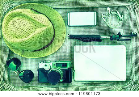 Traveler Outfit And Accessories For Photographer - Overhead Of Essentials For Modern Young Hipster