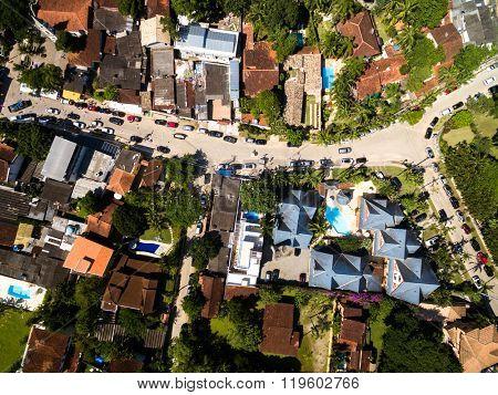 Top View of Houses in Sao Sebastiao, Brazil