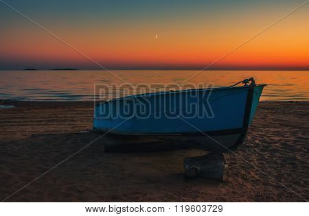 Boat On The Beach At Sunset Background