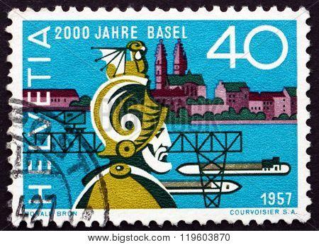 Postage Stamp Switzerland 1957 Munatius Plancus, Roman Senator