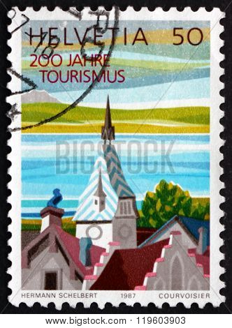 Postage Stamp Switzerland 1987 Clock Tower, Zug