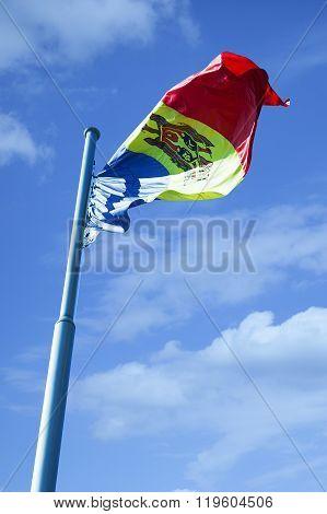 Moldova flag waving on the wind