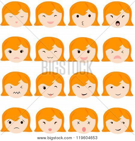 Emoticon icons set of cute girl with various emotions, emoji, facial, feeling, mood, personality, sy
