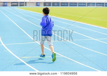 Boy Run In Blue Track