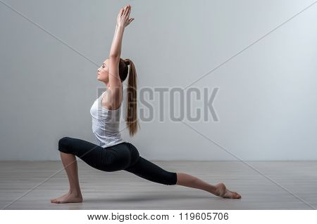 Cheerful young girl is going for sports