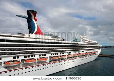 Cruise ship sitting in port in the bahamas