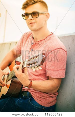 Trendy Guy With Guitar Outdoor