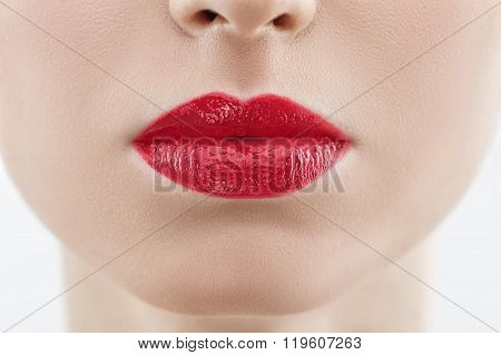 Attractive young woman with a seductive mouth