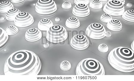 white futuristic spheres background