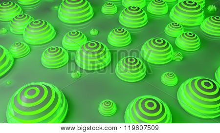 green futuristic spheres background