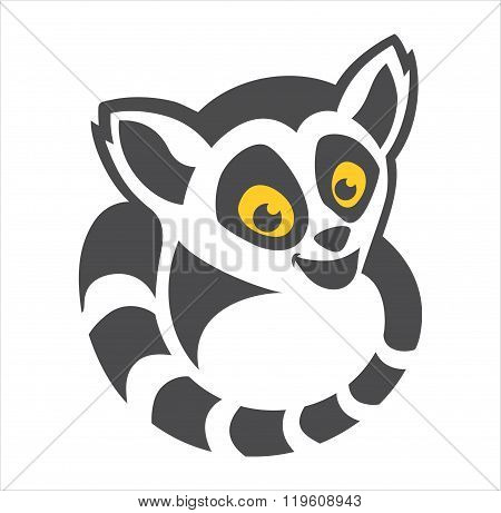 Head and Tail Lemur Cartoon