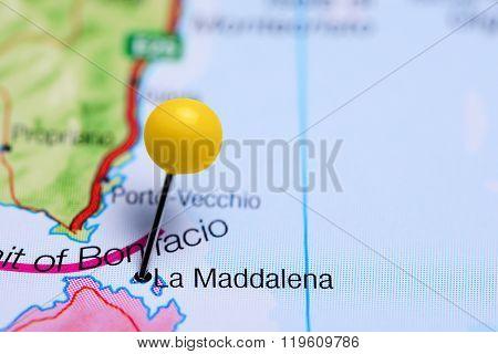 La Maddalena pinned on a map of Italy