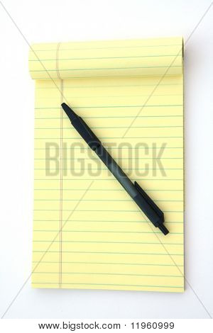 Yellow legal pad of paper set against a white background