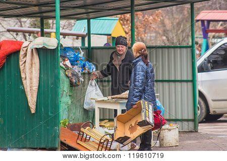 Zhytomyr, Ukraine - February 23, 2016: Beggars Seeking For Food
