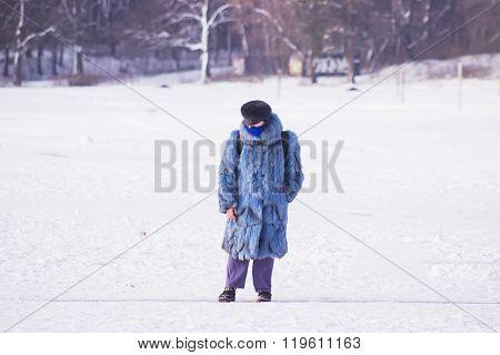 Zhytomyr, Ukraine - January 19, 2016: Strange Girl In Fur