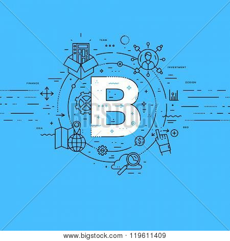 Alphabet Letter B. Flat Style, Thin Line Art Design. Set of application development, web site coding, information, mobile technologies, business icons and elements. Modern concept vectors collection