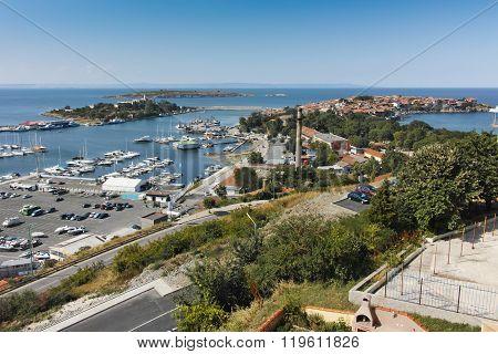 Panoramic view of Port of Sozopol Town, Burgas Region, Bulgaria