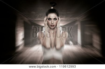 Young woman with a killer head ache
