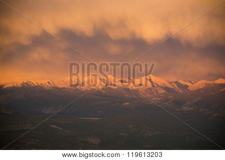 Sunset Glow on the Peaks of the Mono Divide
