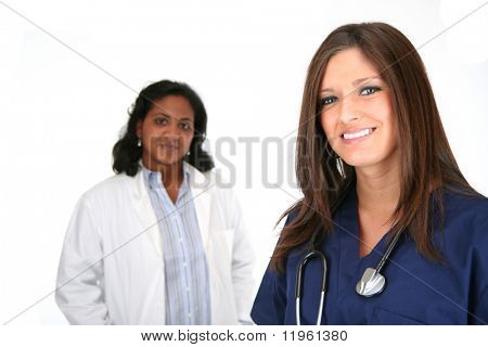 Nurse and Doctor set on white background