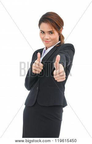 Asian Business Woman With Thumbs Up Isolated On White Background