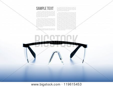 isolate clear safety glasses background with filtered