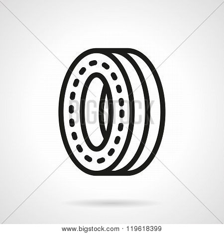 Wheel for skateboard black line design vector icon