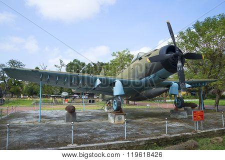 American fighter AD-6 (Douglas A-1 Skyraider) in the Museum of Hue city. Vietnam
