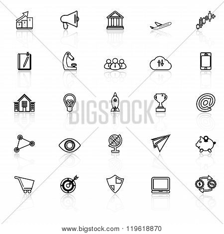 Startup Business Line Icons With Reflect On White