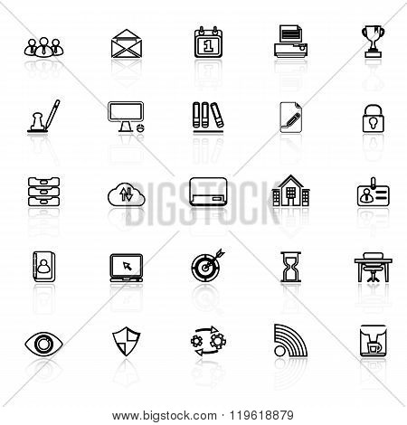 Business Management Line Icons With Reflect On White