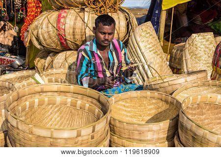 Cane Artisan Weaving Baskets