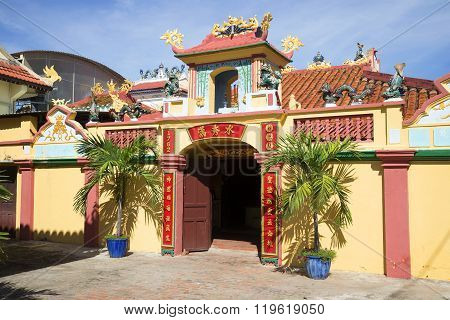 At the entrance of the ancient pagoda,the whale Temple. Phan Thiet, Vietnam